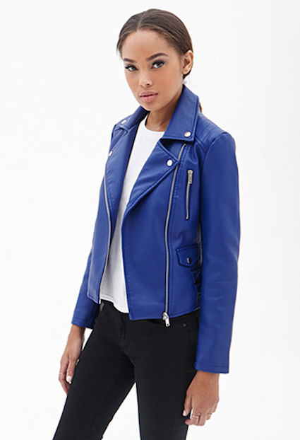 Blue Women's Moto Jacket