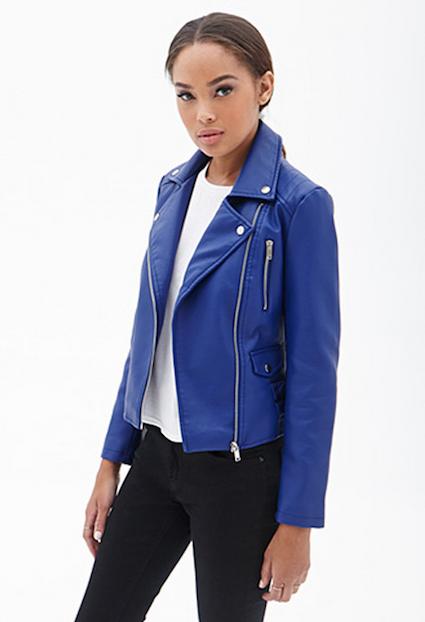 Blue Women's Moto Jacket