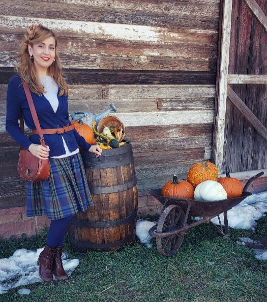 Fall Fashion Outfit with Blue Plaid Skirt