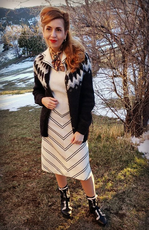 Vintage style look, knit dress, fail isle sweater