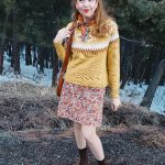 Vintage floral dress, fair isle sweater