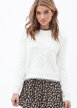 Waffle knit white fluffy sweater