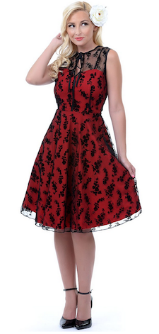 Red and Black Lace Vintage Inspired Dress