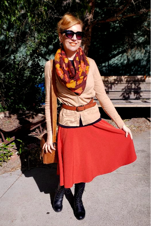 Fall Fashion Outfit With Orange Skirt and Leaf Scarf