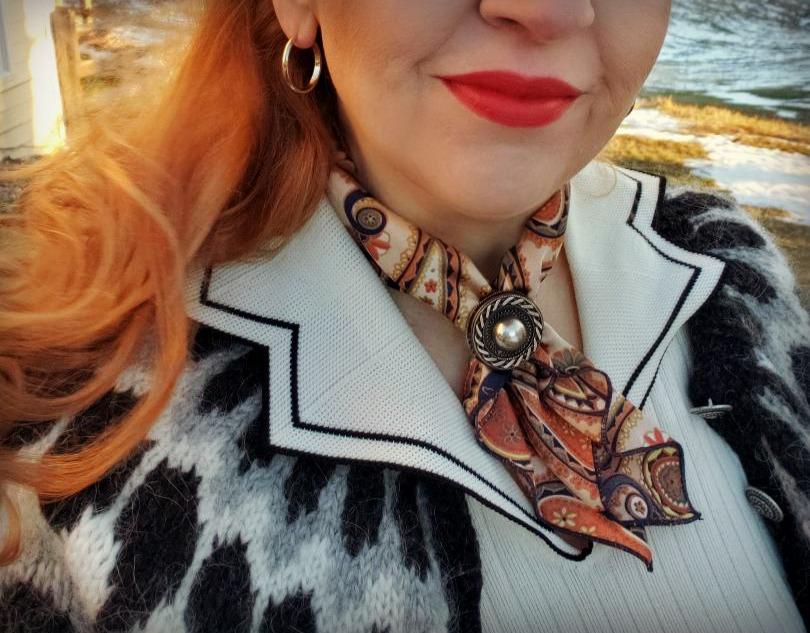 Paisley scarf, vintage brooch, fair isle sweater
