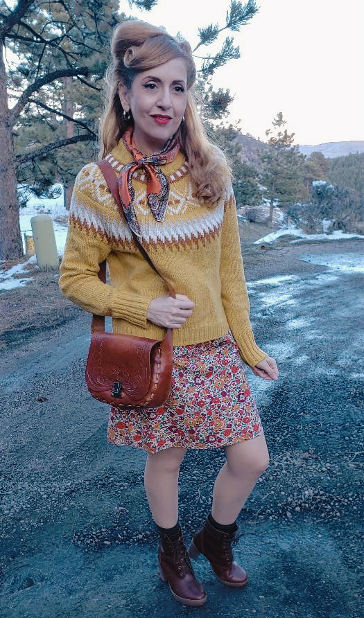 Vintage style floral dress, fair isle sweater