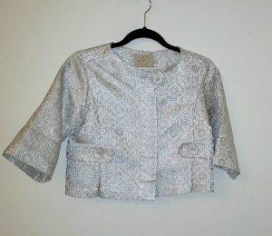 Silver brocade 1960s-style jacket