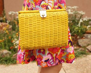 Yellow vintage basket-weave purse
