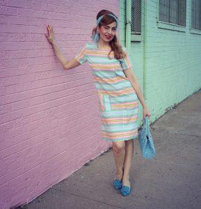 Vintage 1960s Pastel Dress