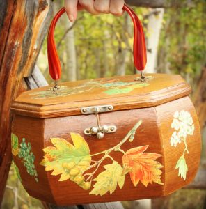 Vintage purse with fall leaves