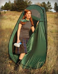 Pop up tent camping bathroom