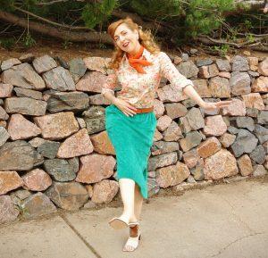 1970s green velour skirt