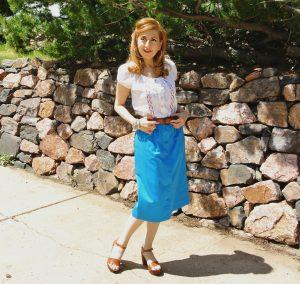 1970s peasant top midi skirt