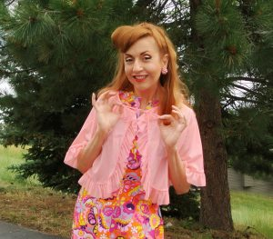 Pink Ruffle Vintage Bed Jacket